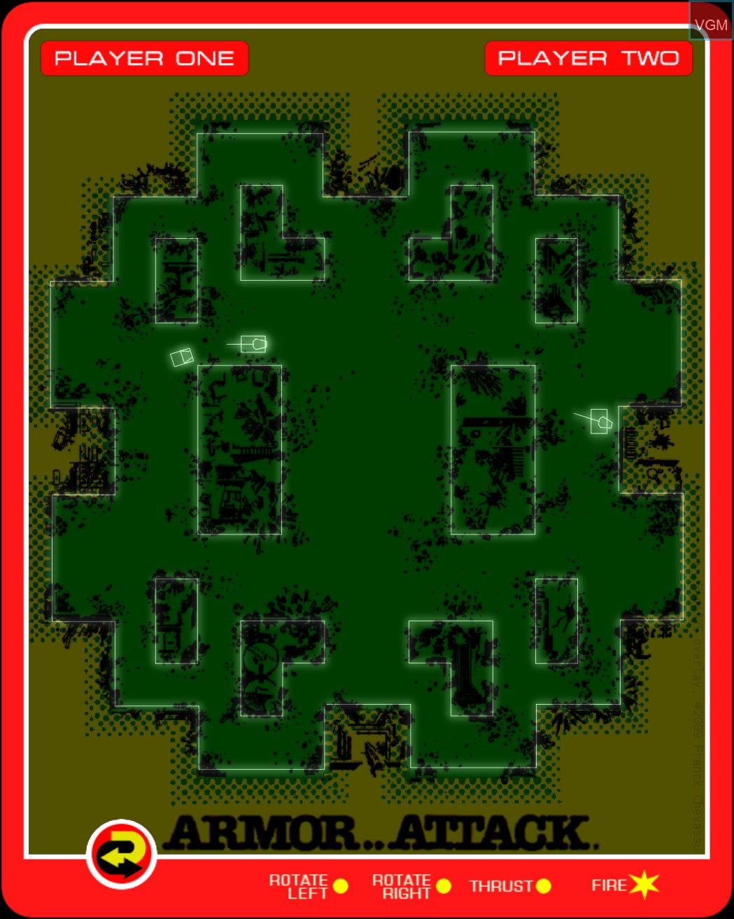 In-game screen of the game Armor Attack on MB Vectrex