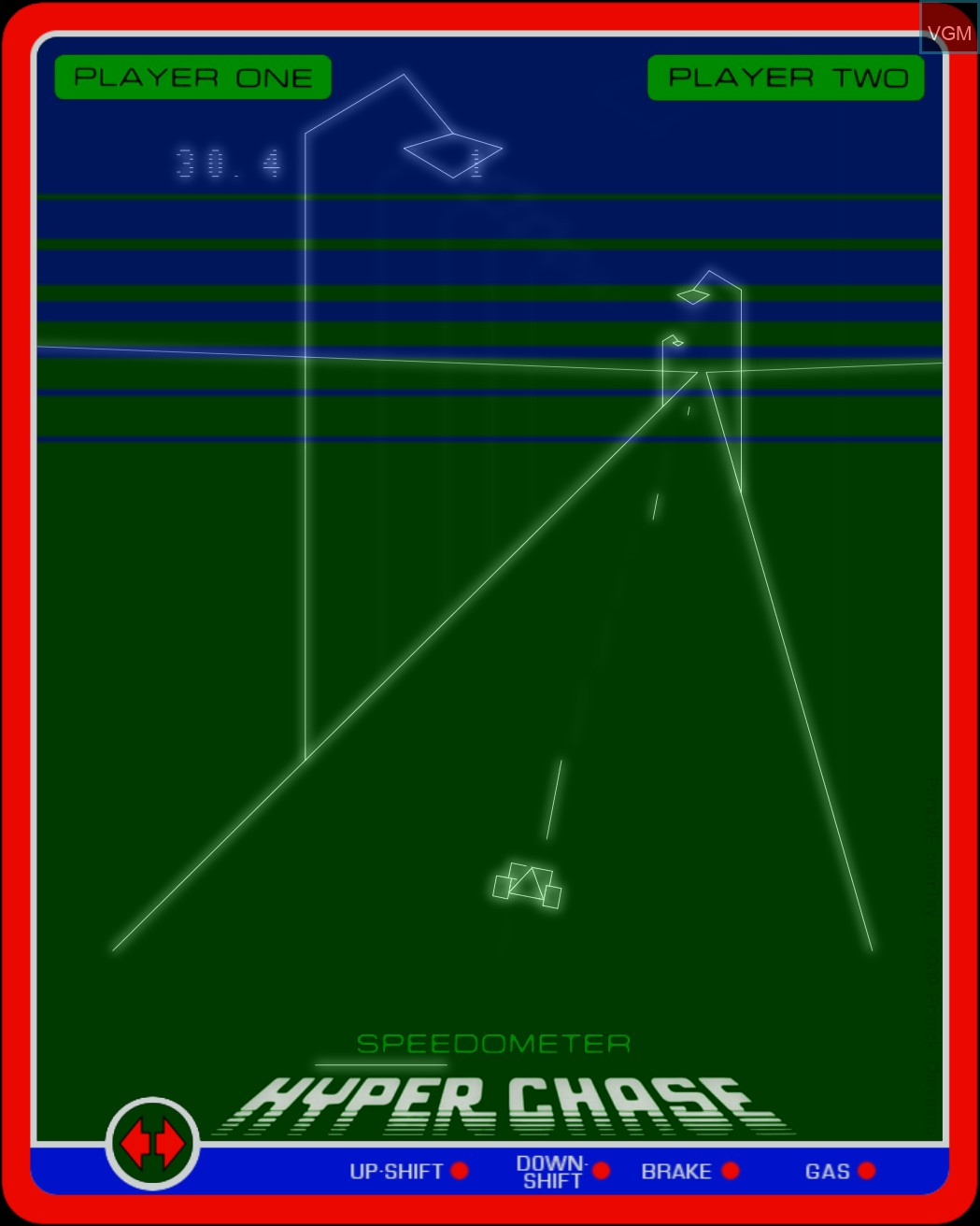 In-game screen of the game Hyperchase on MB Vectrex