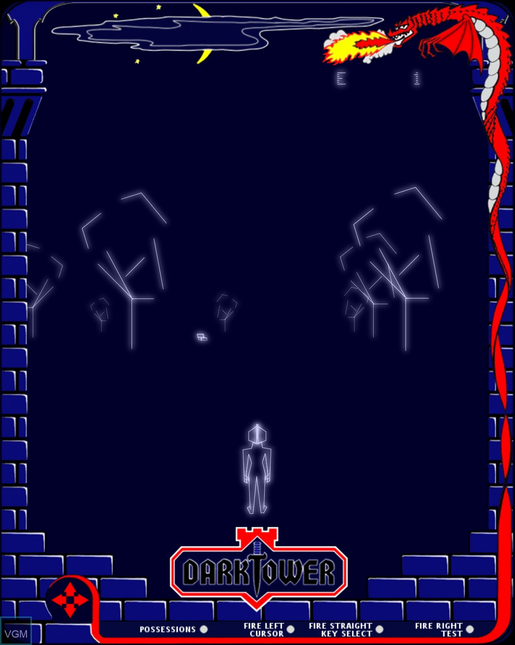 In-game screen of the game Dark Tower on MB Vectrex