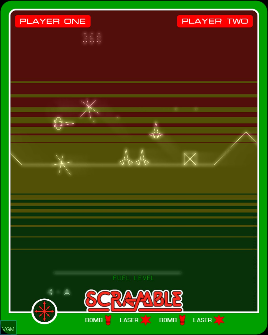 In-game screen of the game Scramble on MB Vectrex