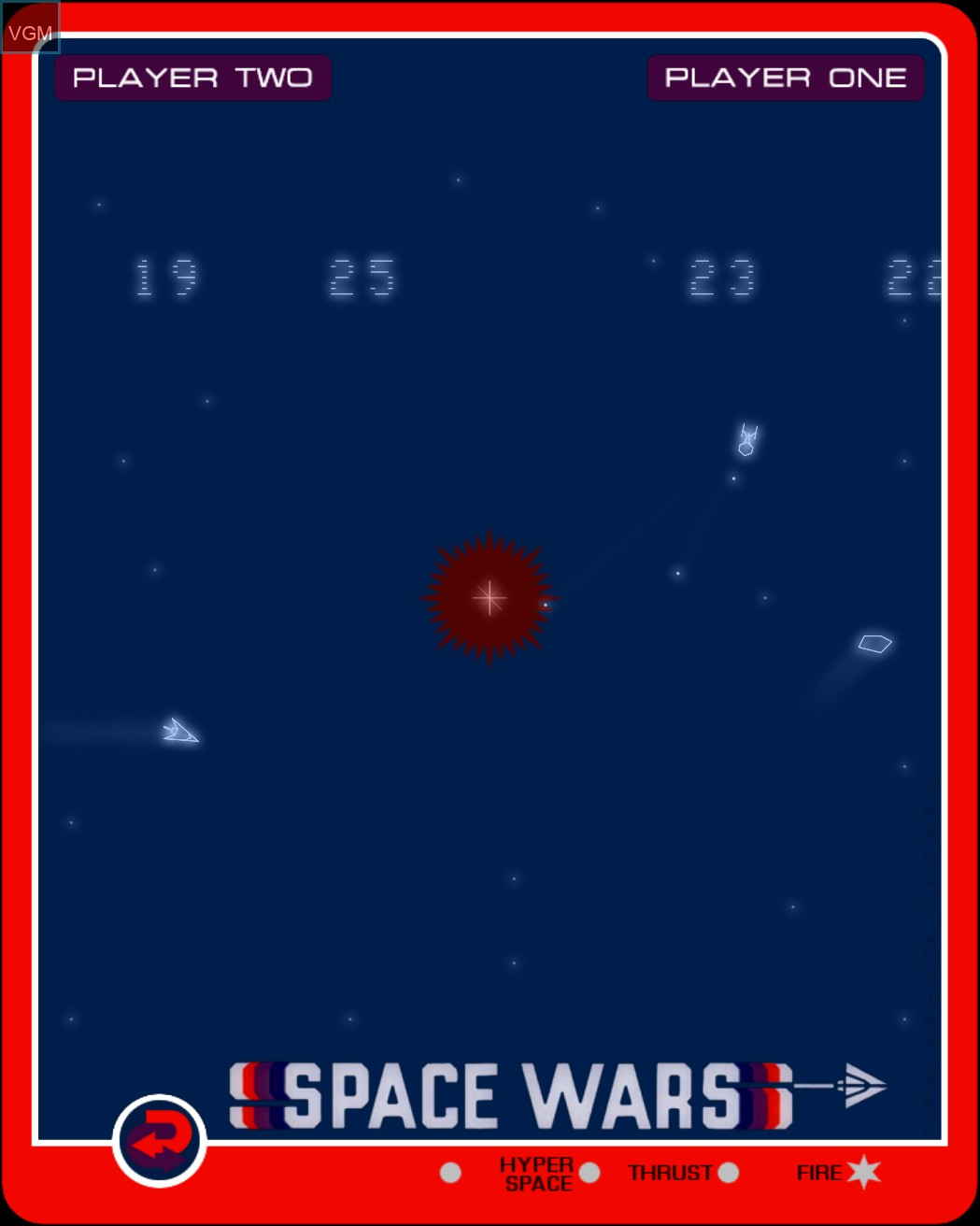 In-game screen of the game Space Wars on MB Vectrex