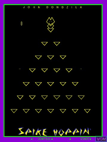 In-game screen of the game Spike Hoppin' by John Dondzila on Nintendo Vectrex