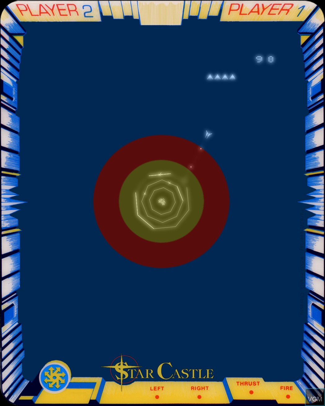 In-game screen of the game Star Castle on MB Vectrex