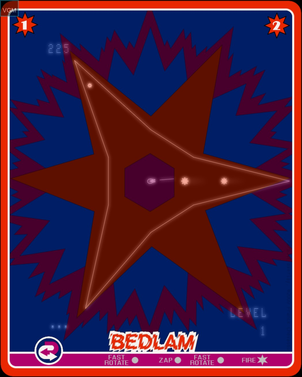 In-game screen of the game Bedlam on Nintendo Vectrex