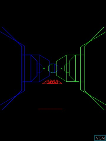 In-game screen of the game 3-D Narrow Escape on MB Vectrex