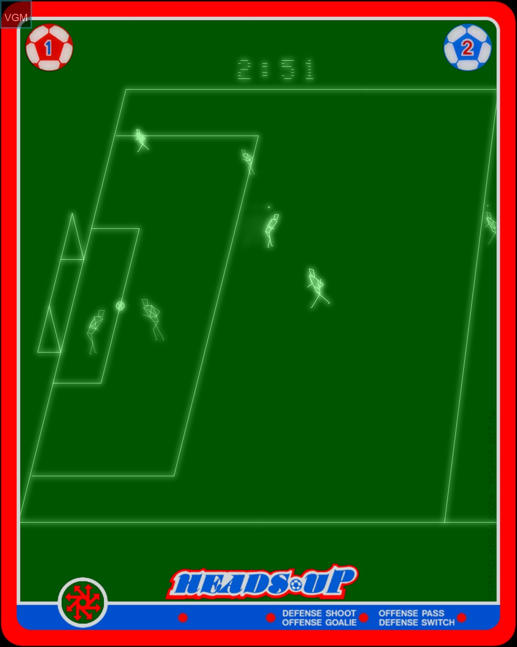 In-game screen of the game Heads Up - Action Soccer on Nintendo Vectrex