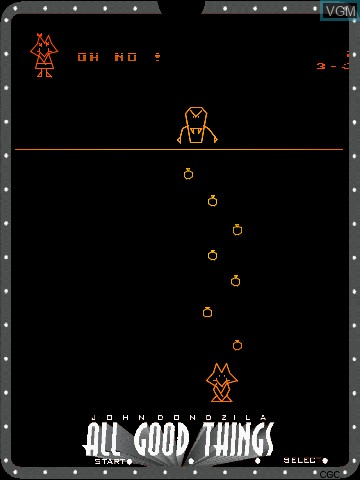 In-game screen of the game All Good Things by John Dondzila on Nintendo Vectrex