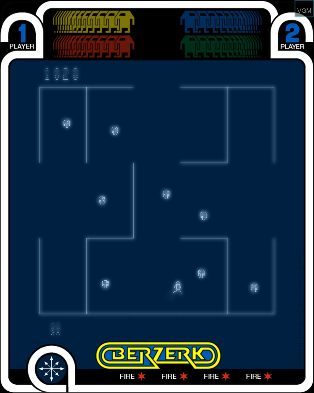 In-game screen of the game Berzerk on MB Vectrex