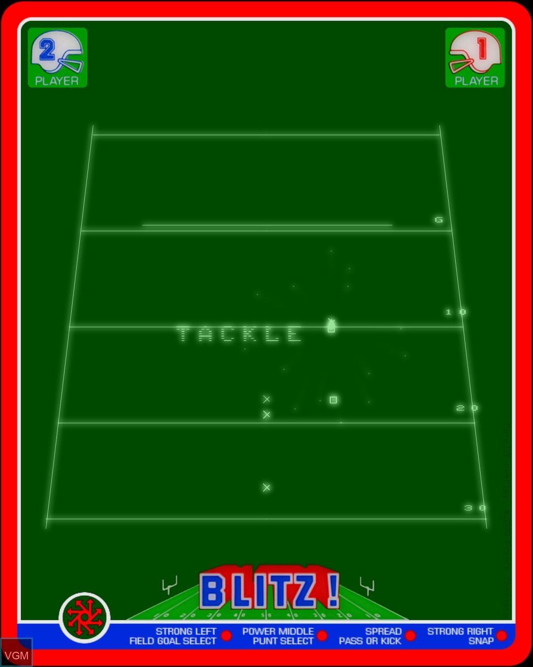 In-game screen of the game Blitz! - Action Football on MB Vectrex
