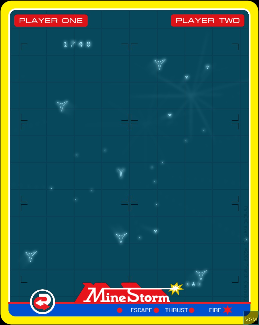 In-game screen of the game Mine Storm II on Nintendo Vectrex