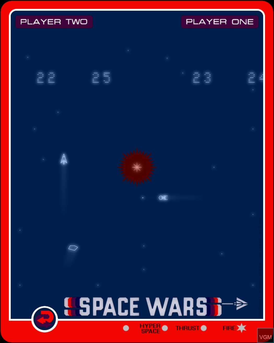 In-game screen of the game Space Wars on Nintendo Vectrex