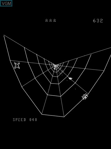 In-game screen of the game Web Warp on MB Vectrex