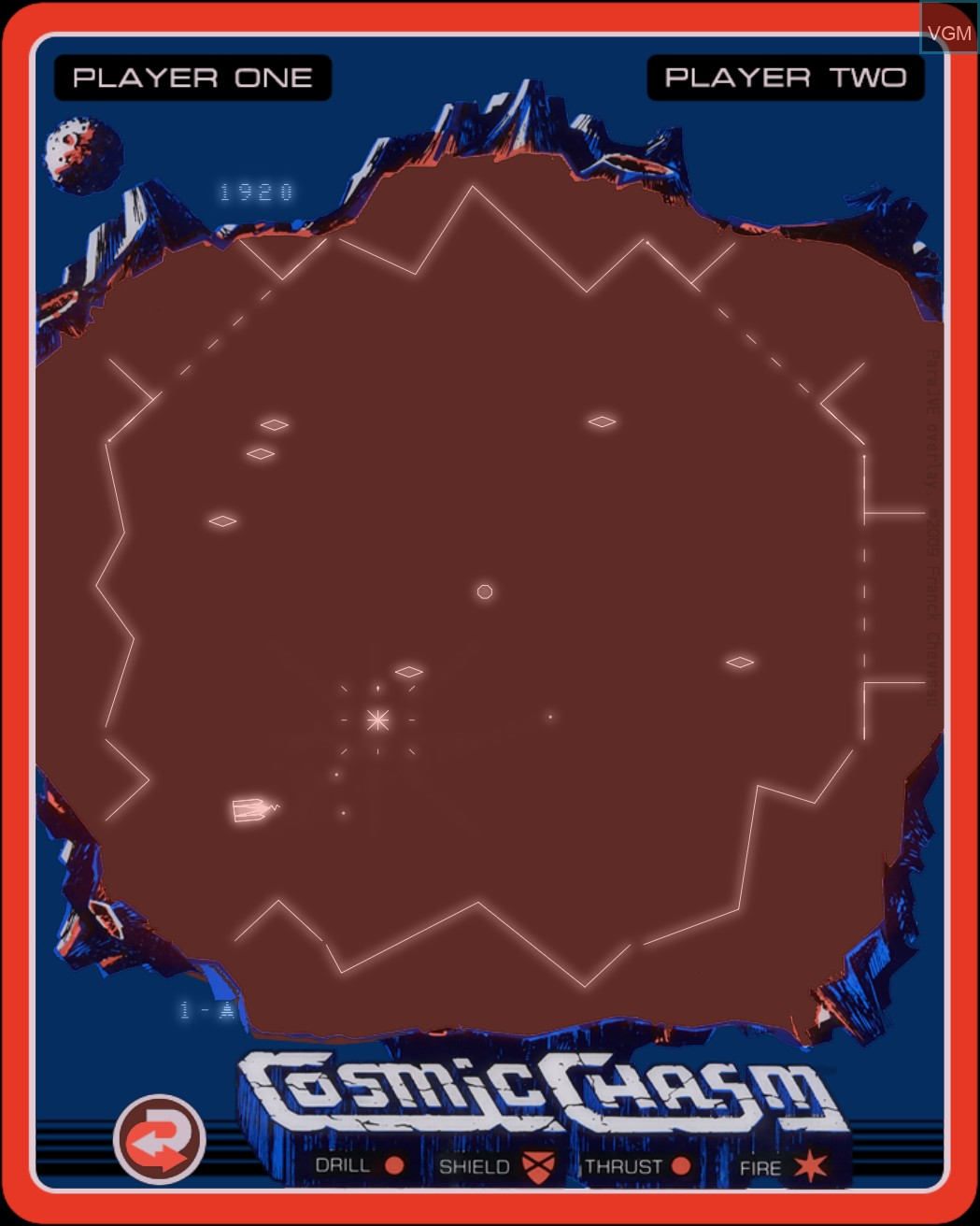 In-game screen of the game Cosmic Chasm on MB Vectrex