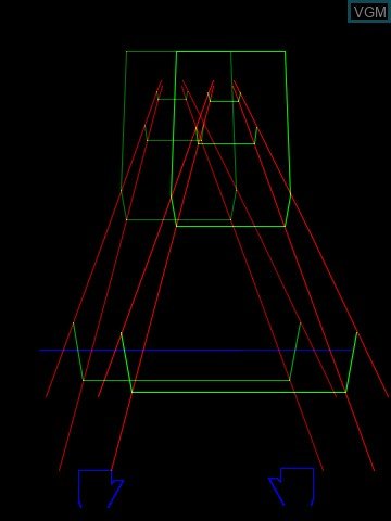 In-game screen of the game 3-D Crazy Coaster on Nintendo Vectrex
