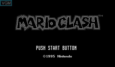 Title screen of the game Mario Clash on Nintendo Virtual Boy