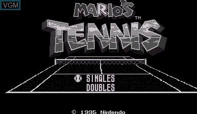 Title screen of the game Mario's Tennis on Nintendo Virtual Boy