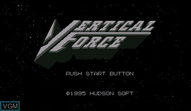Title screen of the game Vertical Force on Nintendo Virtual Boy
