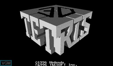 Title screen of the game 3D Tetris on Nintendo Virtual Boy