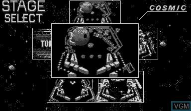 Menu screen of the game Galactic Pinball on Nintendo Virtual Boy