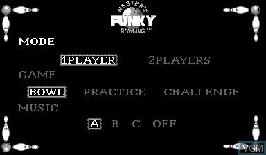 Menu screen of the game Nester's Funky Bowling on Nintendo Virtual Boy