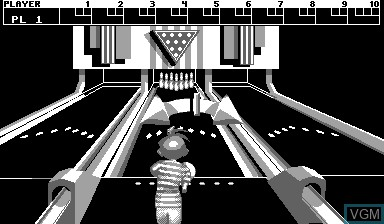 In-game screen of the game Nester's Funky Bowling on Nintendo Virtual Boy