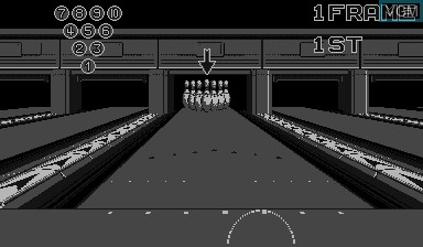 In-game screen of the game Virtual Bowling on Nintendo Virtual Boy