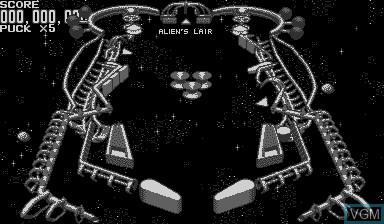 In-game screen of the game Galactic Pinball on Nintendo Virtual Boy