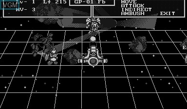 In-game screen of the game SD Gundam Dimension War on Nintendo Virtual Boy