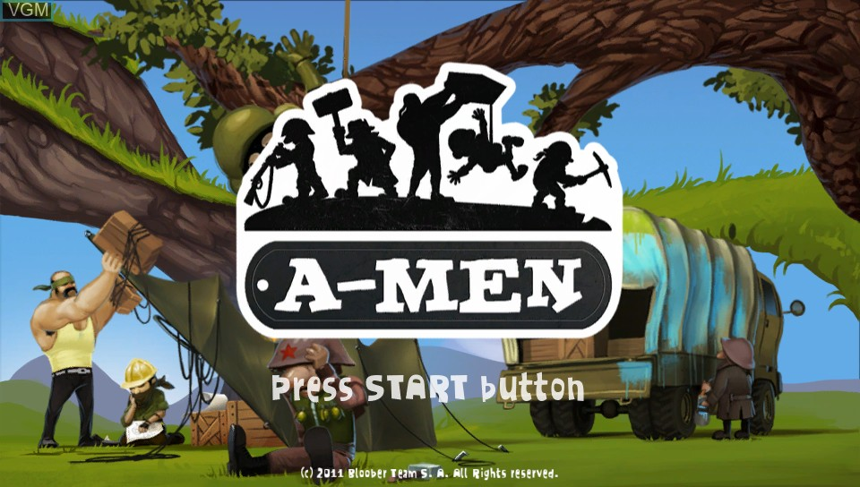 Title screen of the game A-Men on Sony PS Vita