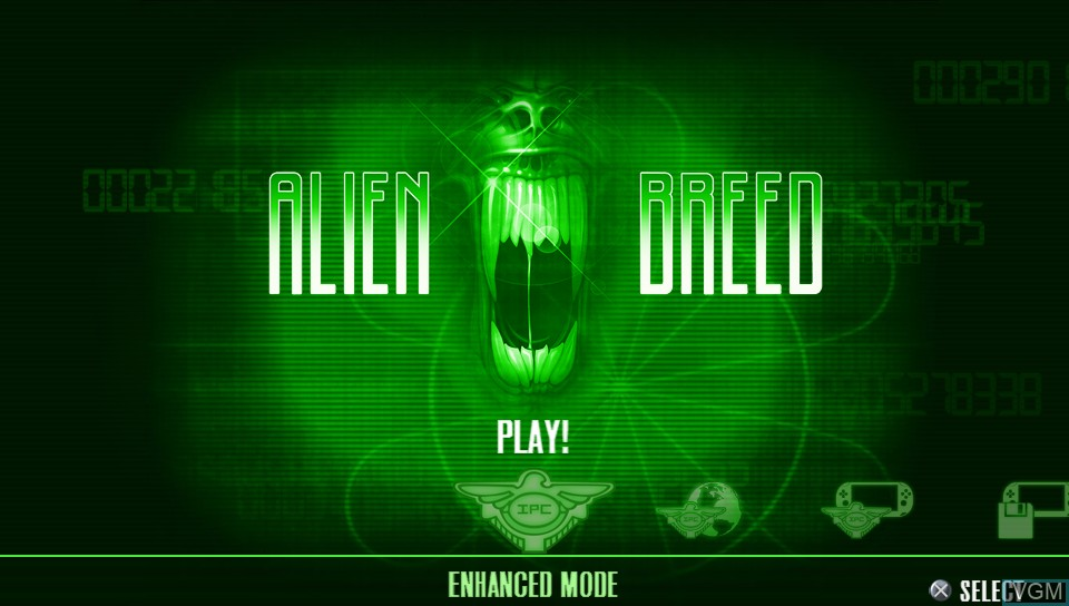 Title screen of the game Alien Breed on Sony PS Vita