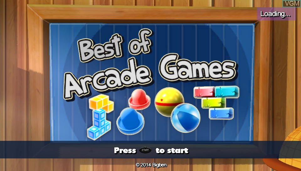 Title screen of the game Best of Arcade Games on Sony PS Vita