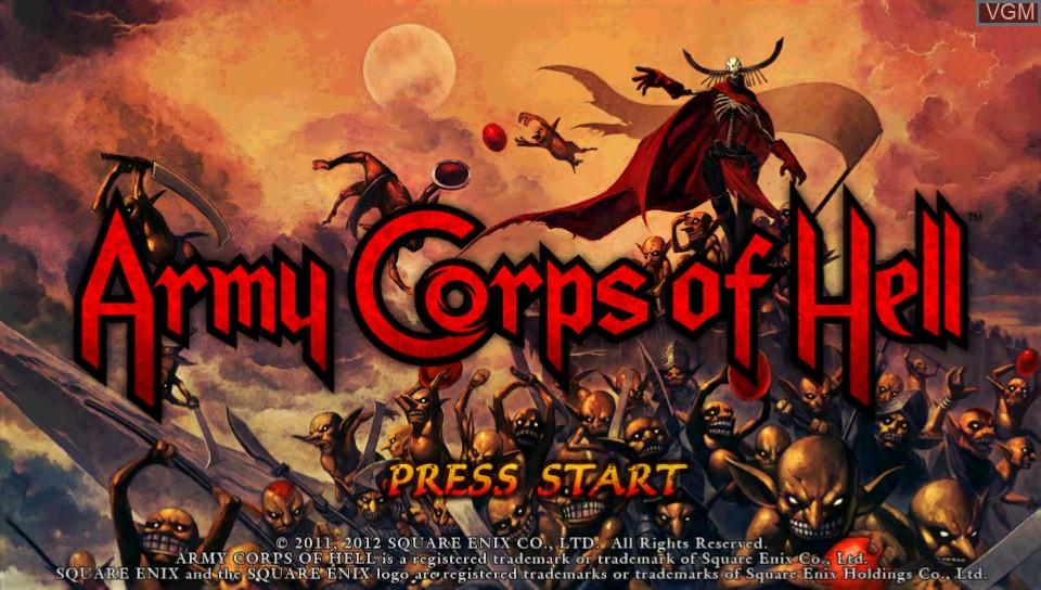 Title screen of the game Army Corps of Hell on Sony PS Vita