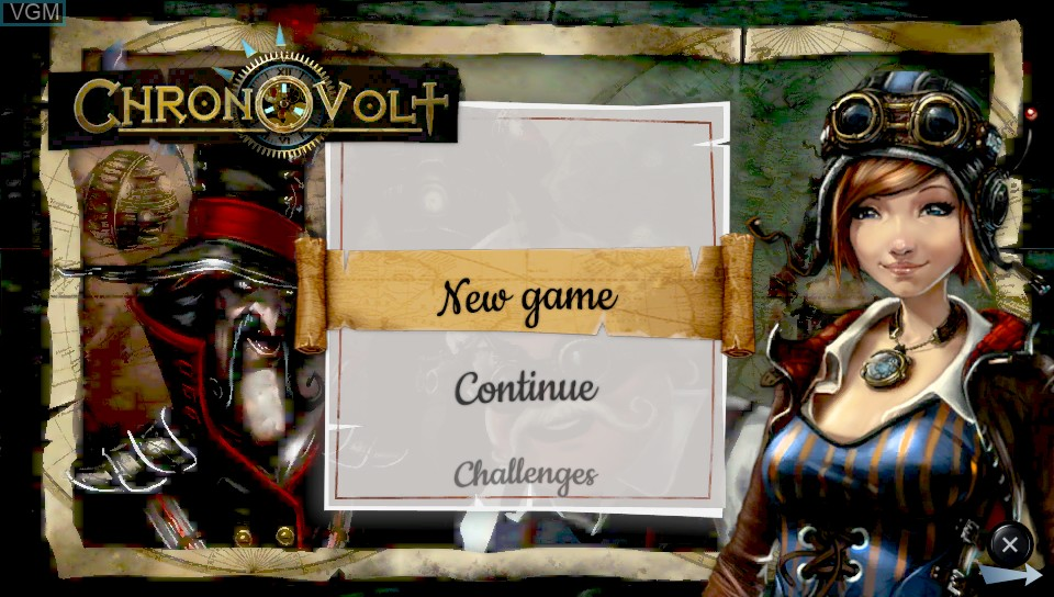 Title screen of the game Chronovolt on Sony PS Vita