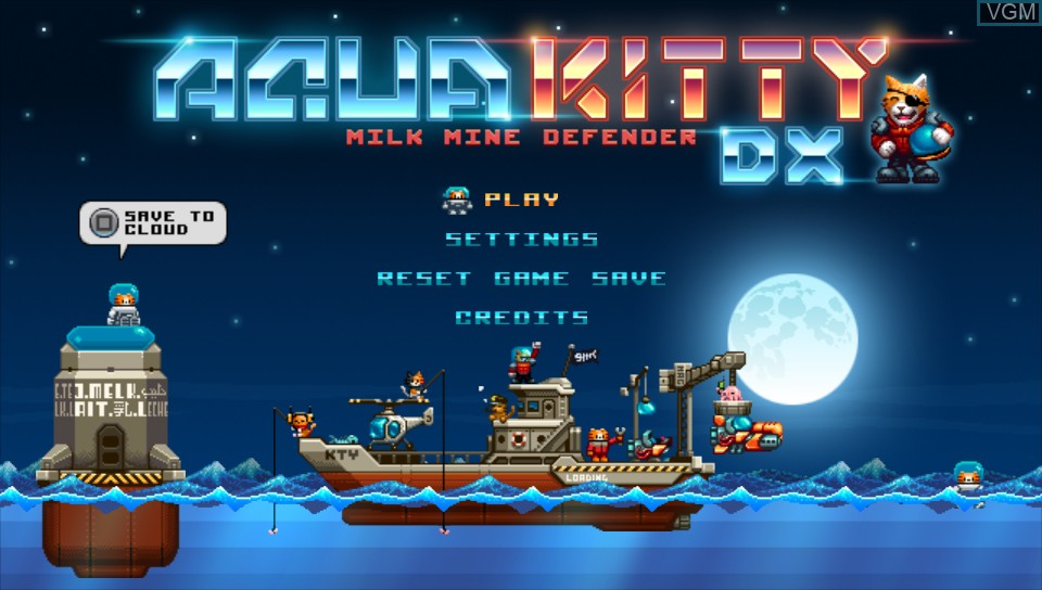 Title screen of the game Aqua Kitty - Milk Mine Defender DX on Sony PS Vita