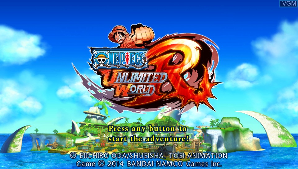 Title screen of the game One Piece - Unlimited World Red on Sony PS Vita