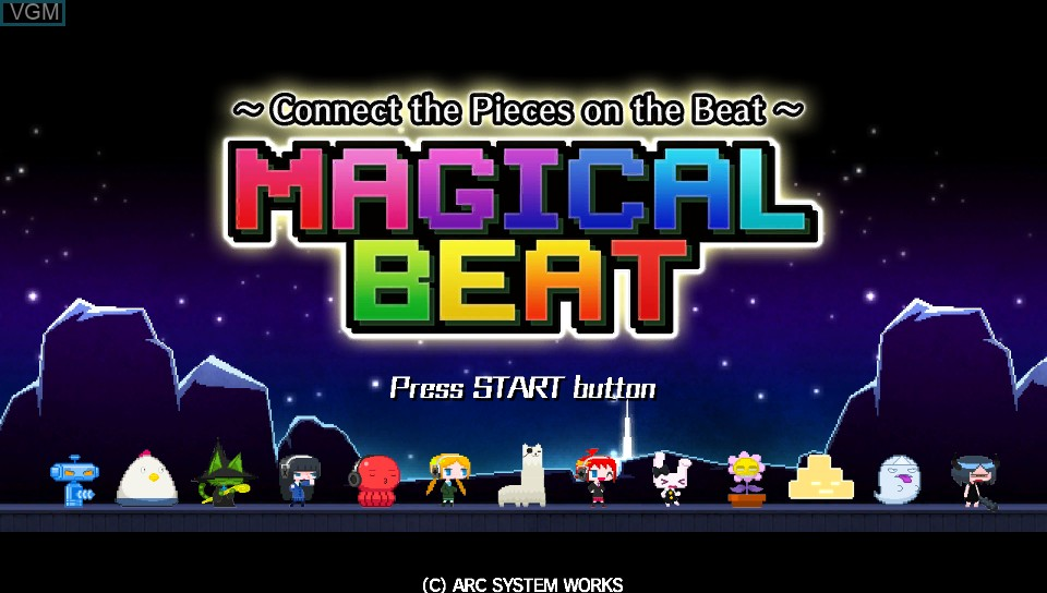 Title screen of the game Magical Beat on Sony PS Vita