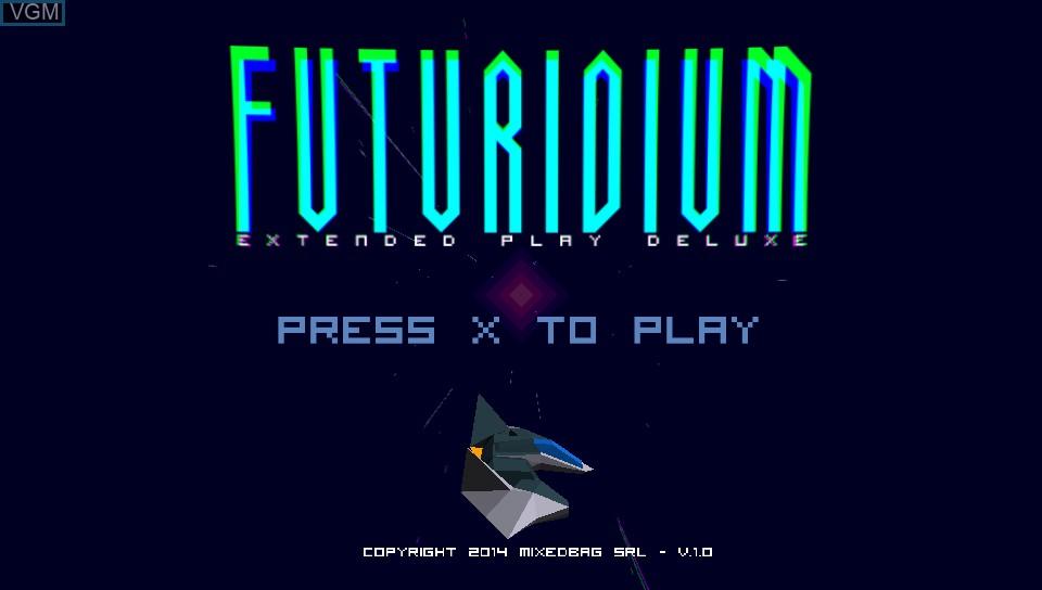 Title screen of the game Futuridium EP Deluxe on Sony PS Vita