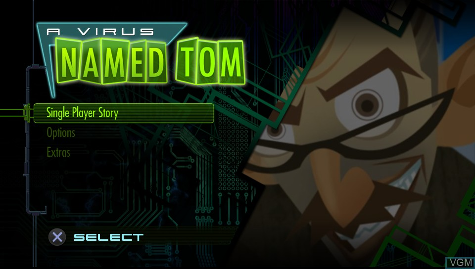 Title screen of the game Virus Named TOM, A on Sony PS Vita