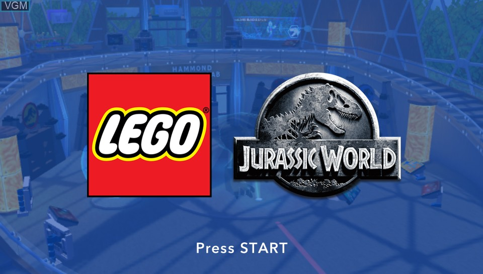 Title screen of the game LEGO Jurassic World on Sony PS Vita