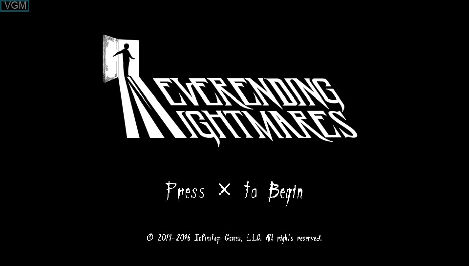 Title screen of the game Neverending Nightmares on Sony PS Vita