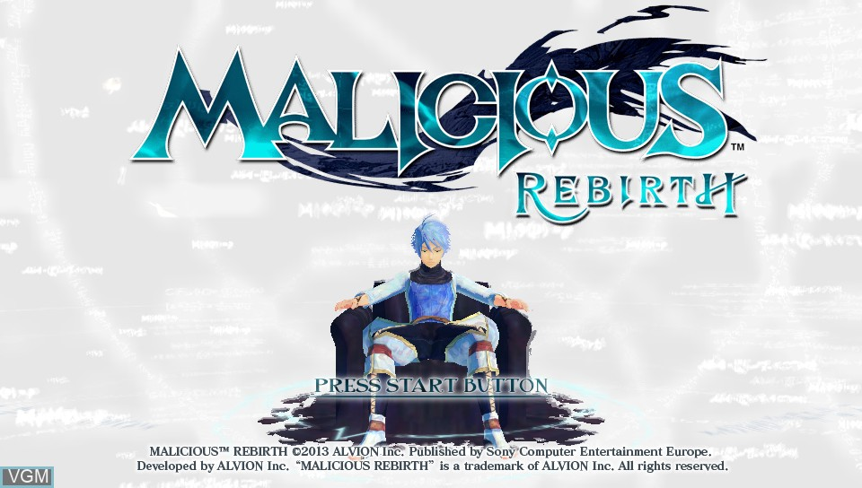 Title screen of the game Malicious Rebirth on Sony PS Vita