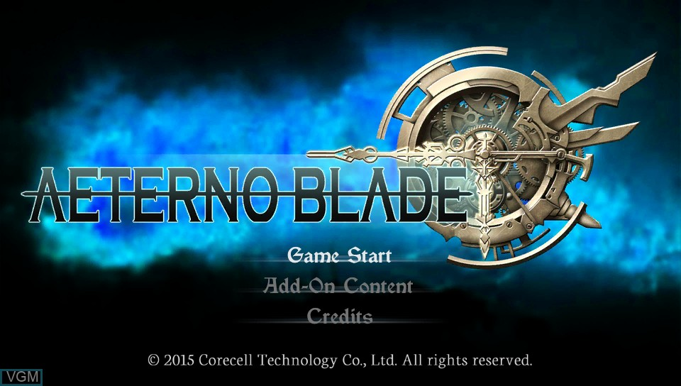 Title screen of the game AeternoBlade on Sony PS Vita