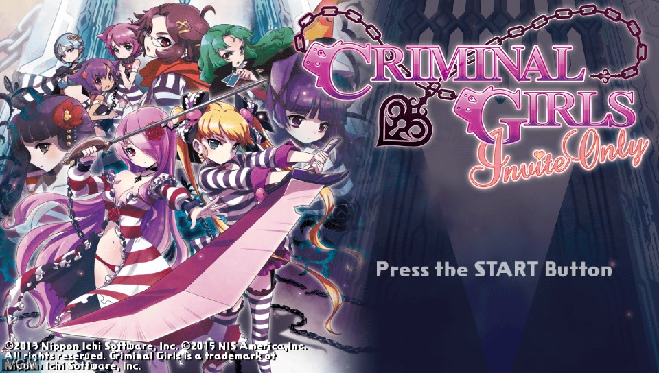 Title screen of the game Criminal Girls - Invite Only on Sony PS Vita