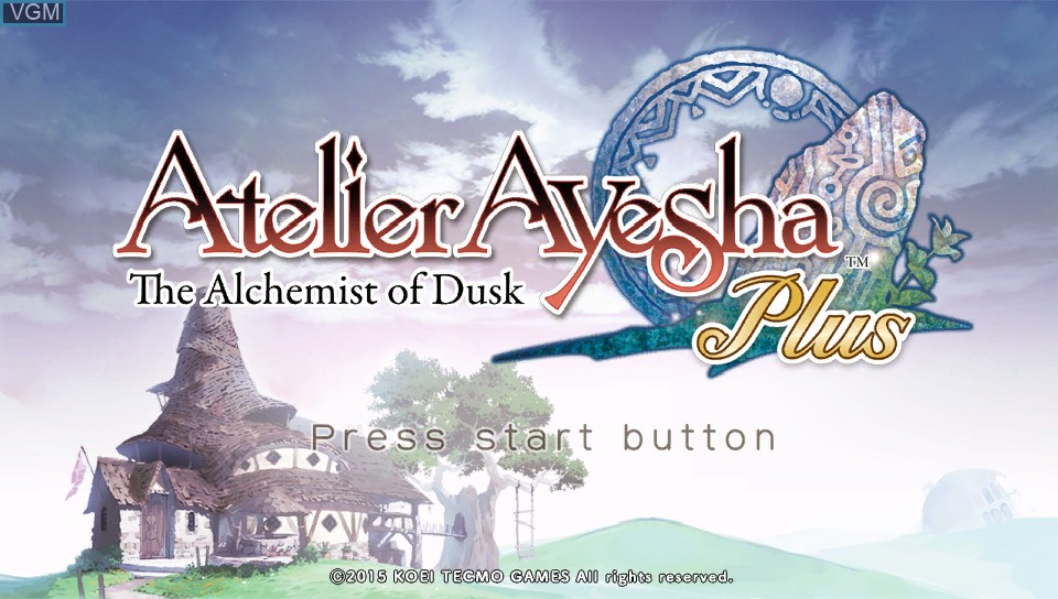 Title screen of the game Atelier Ayesha Plus - The Alchemist of Dusk on Sony PS Vita
