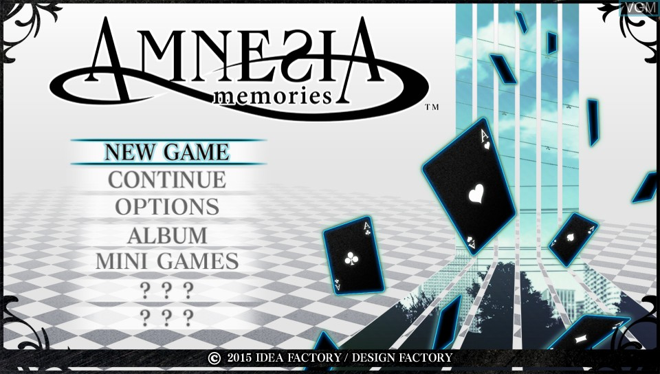 Title screen of the game Amnesia - Memories on Sony PS Vita