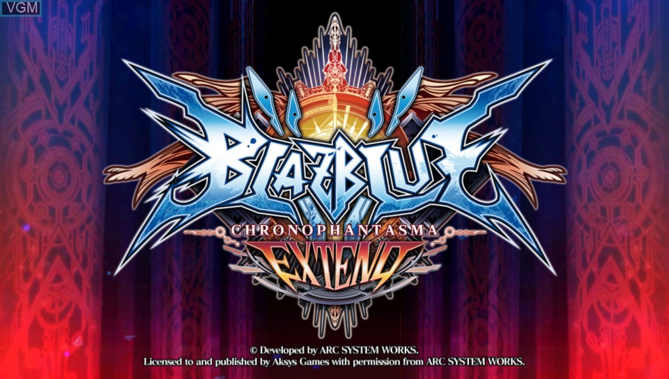 Title screen of the game BlazBlue - Chrono Phantasma Extend on Sony PS Vita