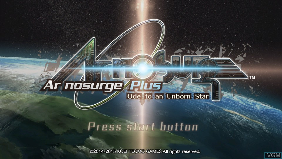 Title screen of the game Ar nosurge Plus - Ode to an Unborn Star on Sony PS Vita