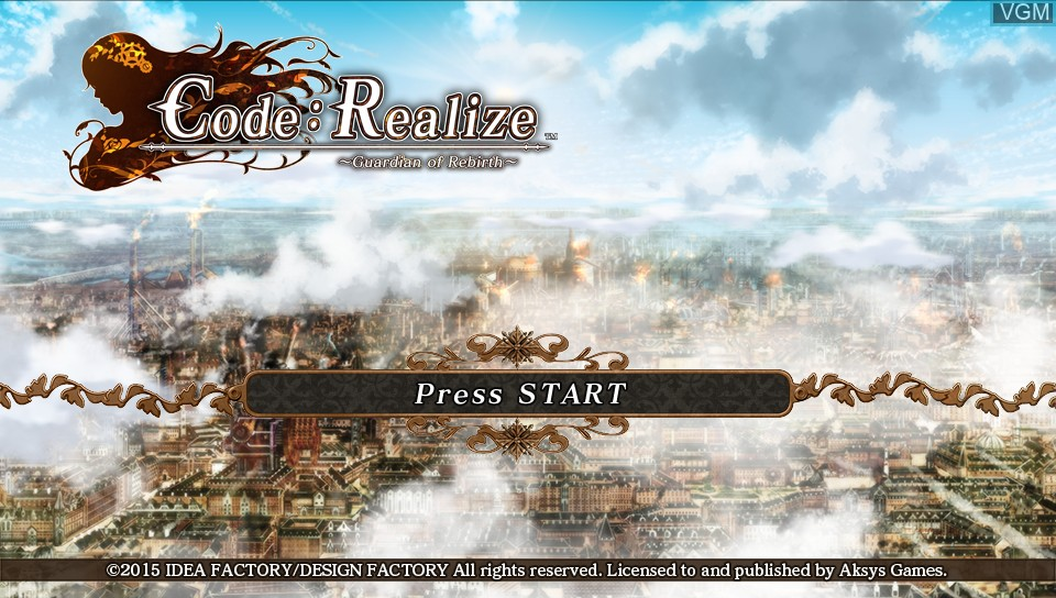 Title screen of the game Code - Realize - Guardian of Rebirth on Sony PS Vita