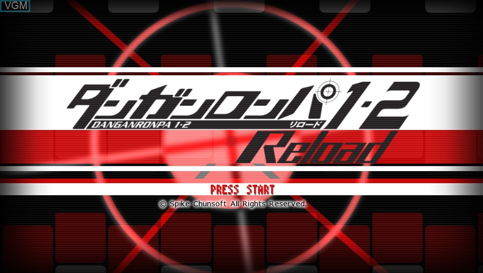 Title screen of the game Danganronpa 1-2 Reload on Sony PS Vita