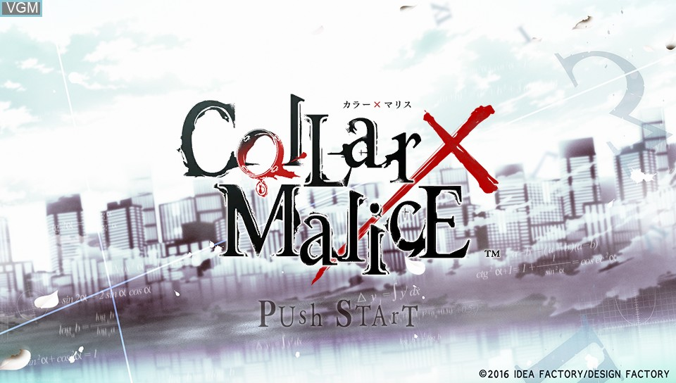 Title screen of the game Collar x Malice on Sony PS Vita